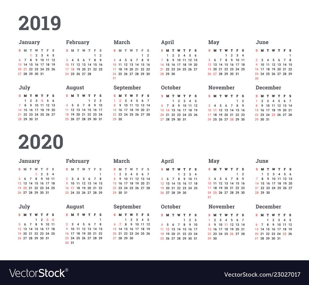 Calendar 2019 2020 Year - Wee