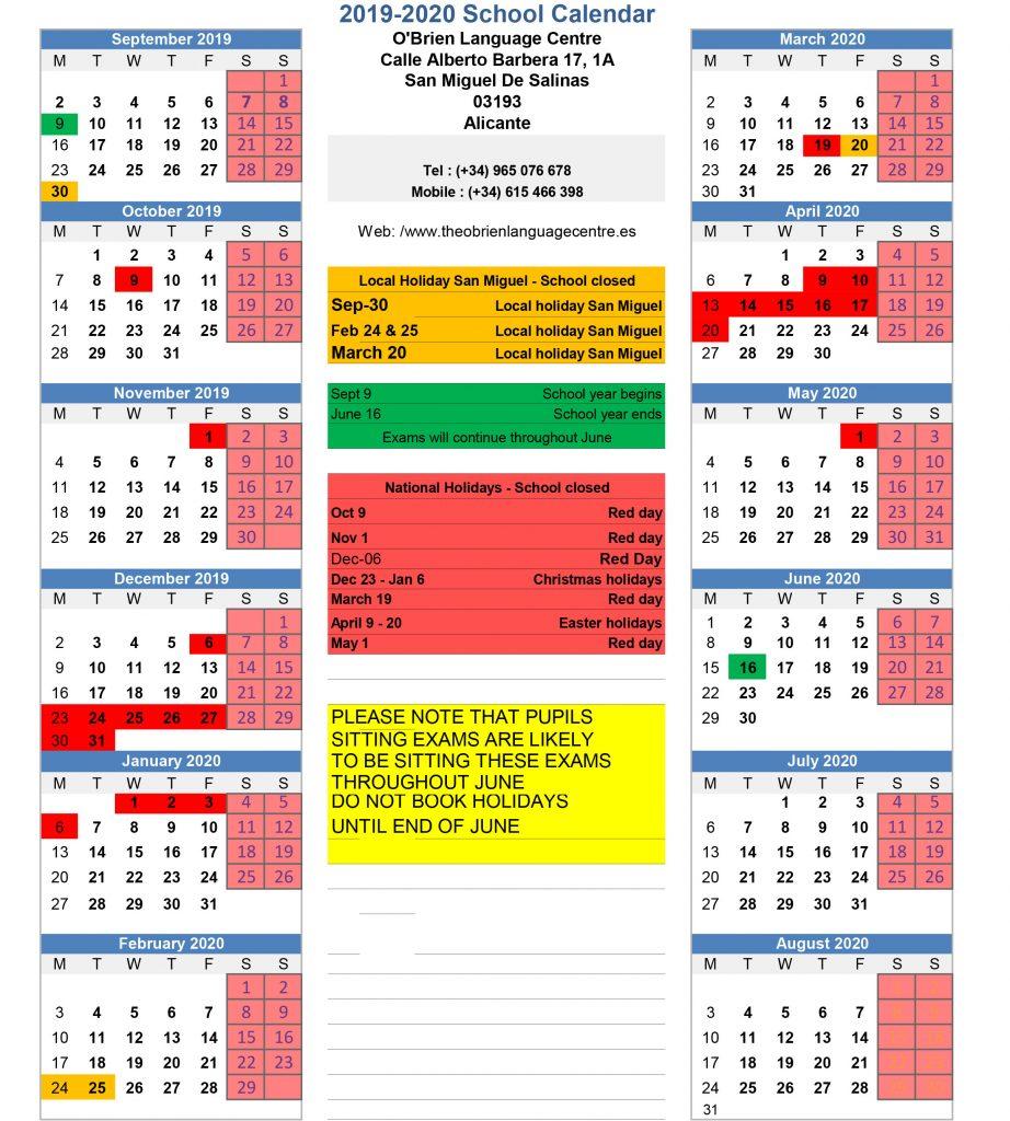 Calendar 2019 / 2020 -