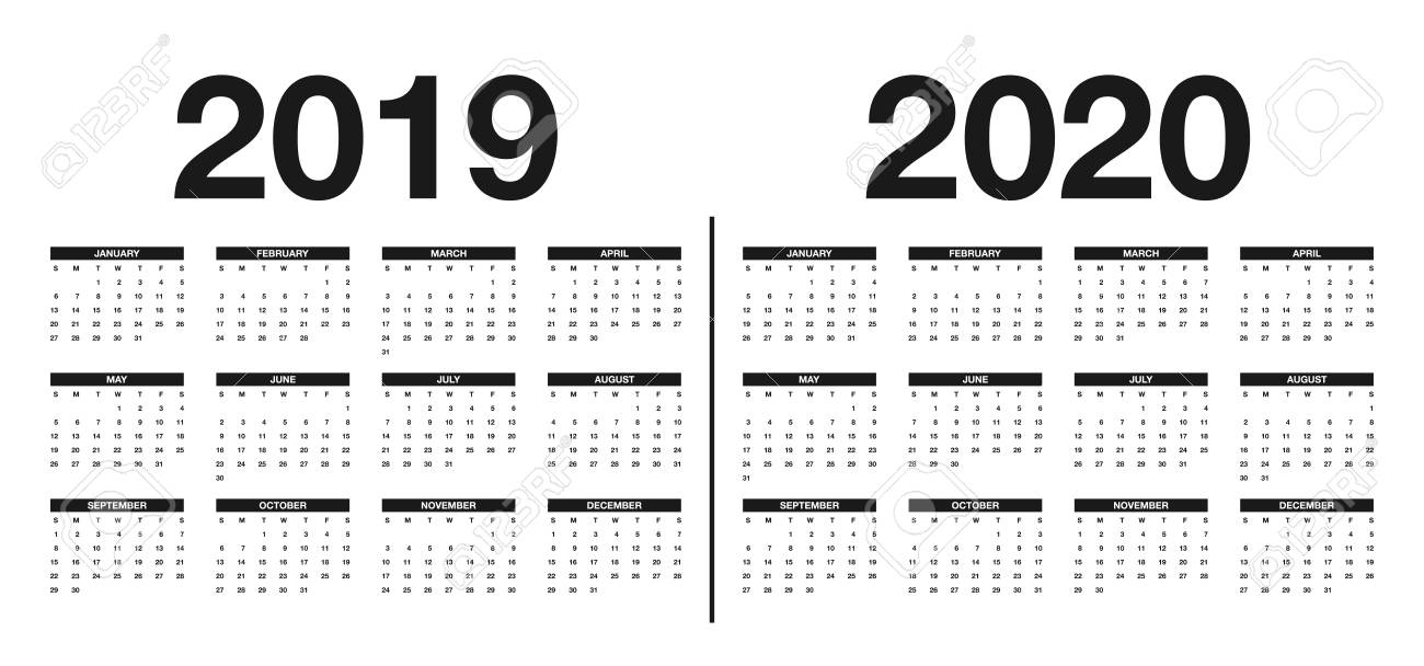 Calendar 2019 And 2020 Template. Calendar Design In Black And..