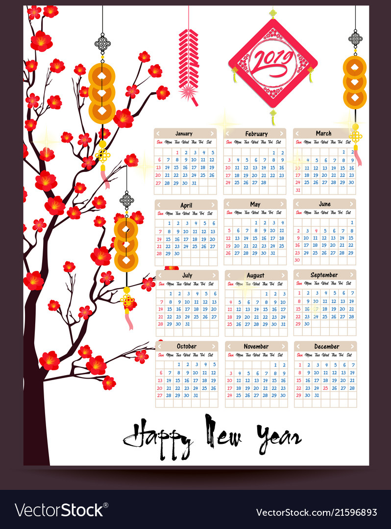 Calendar 2019 Chinese Calendar For Happy New Year