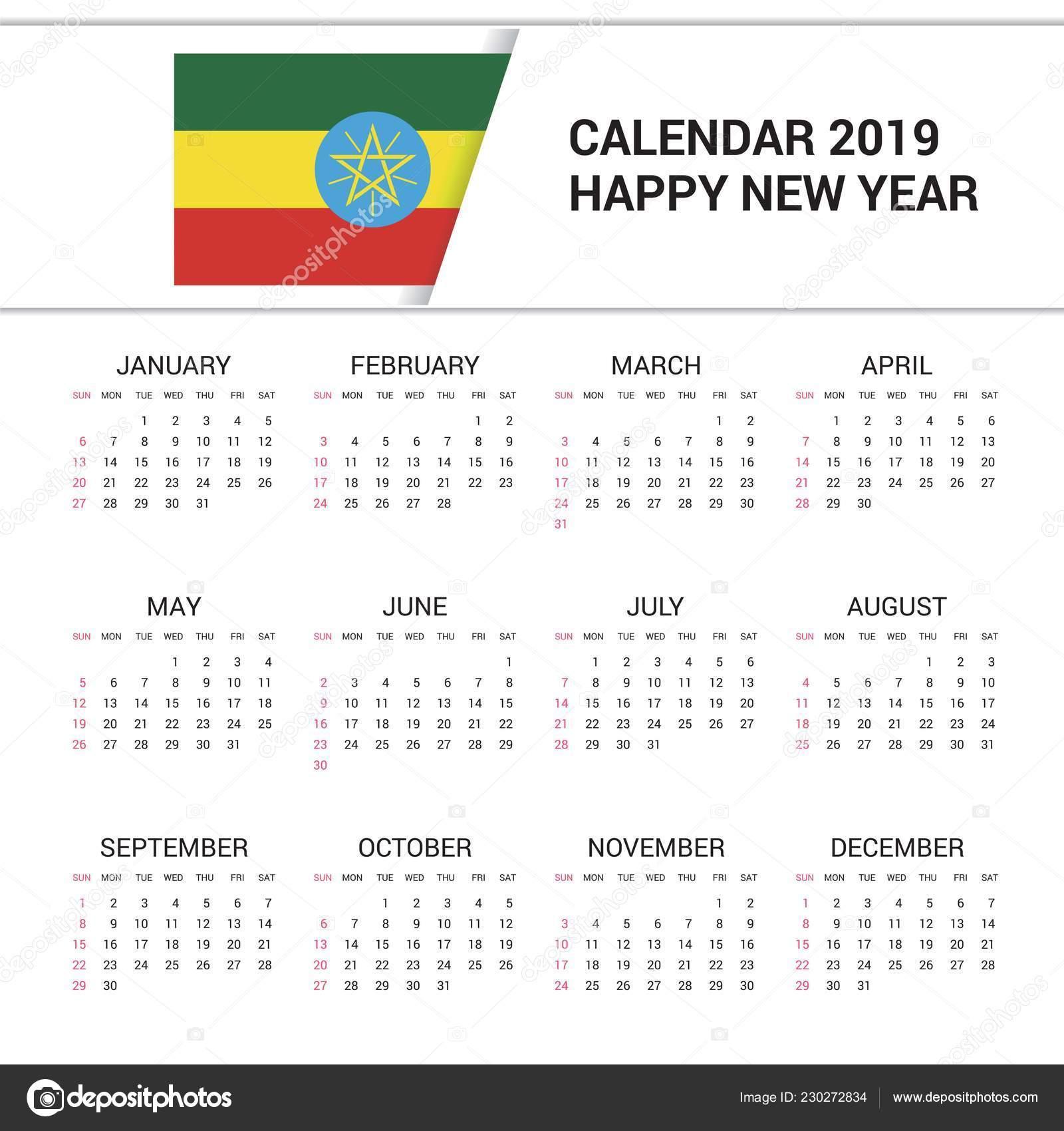 Calendar 2019 Ethiopia Flag Background English Language