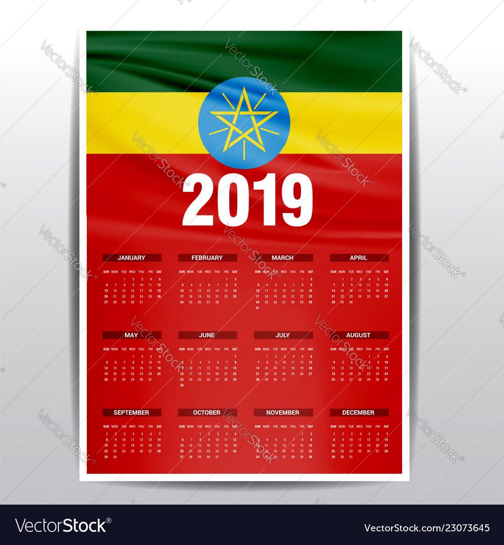 Calendar 2019 Ethiopia Flag Background English