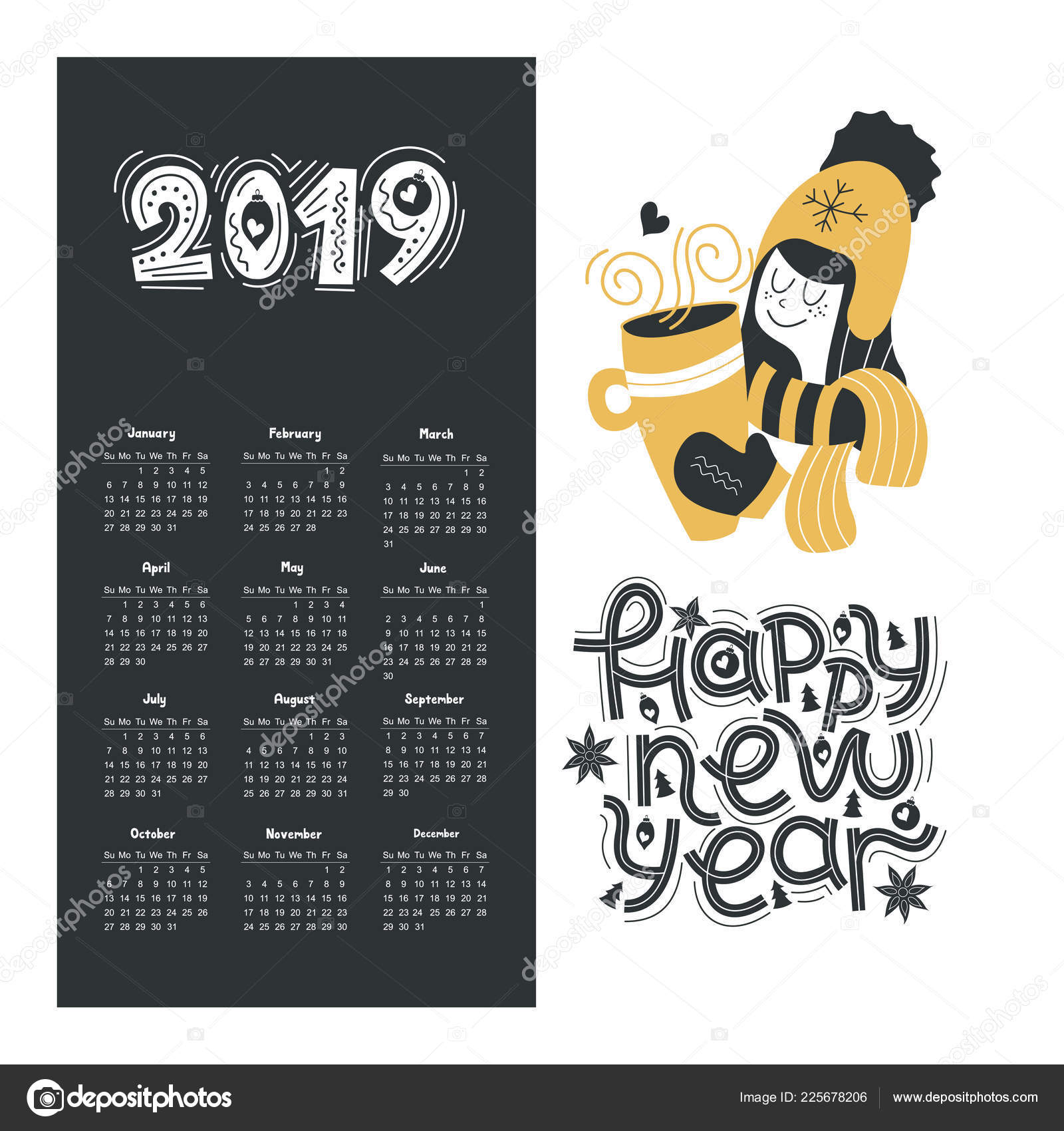 Calendar 2019 Happy New Year Hand Drawn Lettering Quote Cute