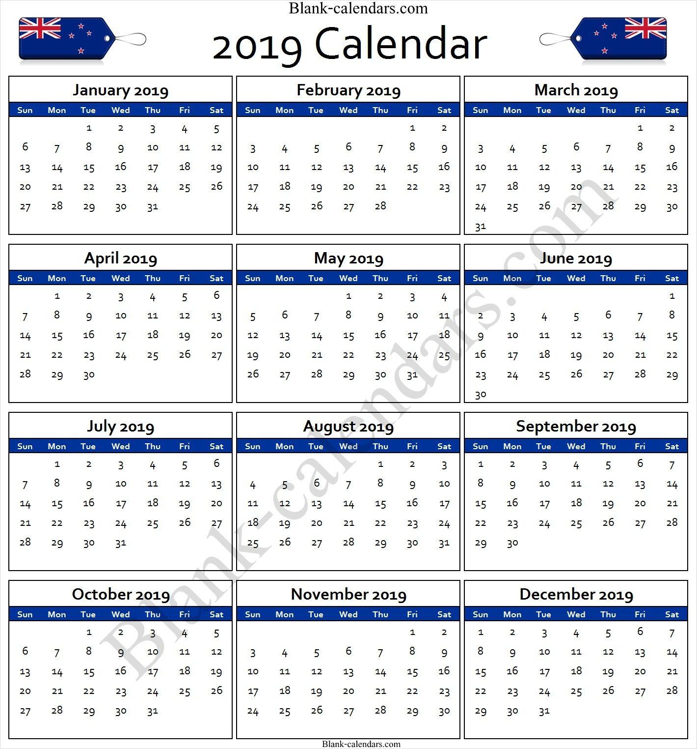 Calendar 2019 New Zealand | January Calendar, Print Calendar