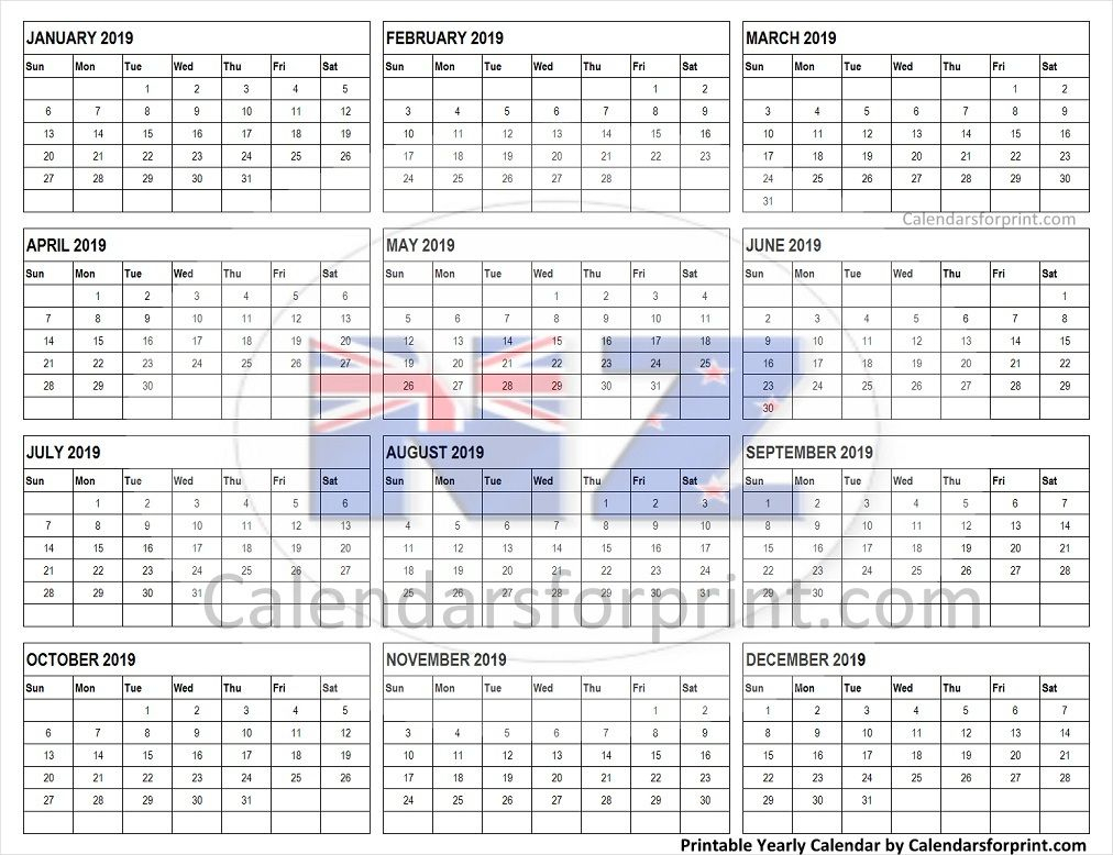Calendar 2019 New Zealand | Yearly Calendar, Blank Calendar