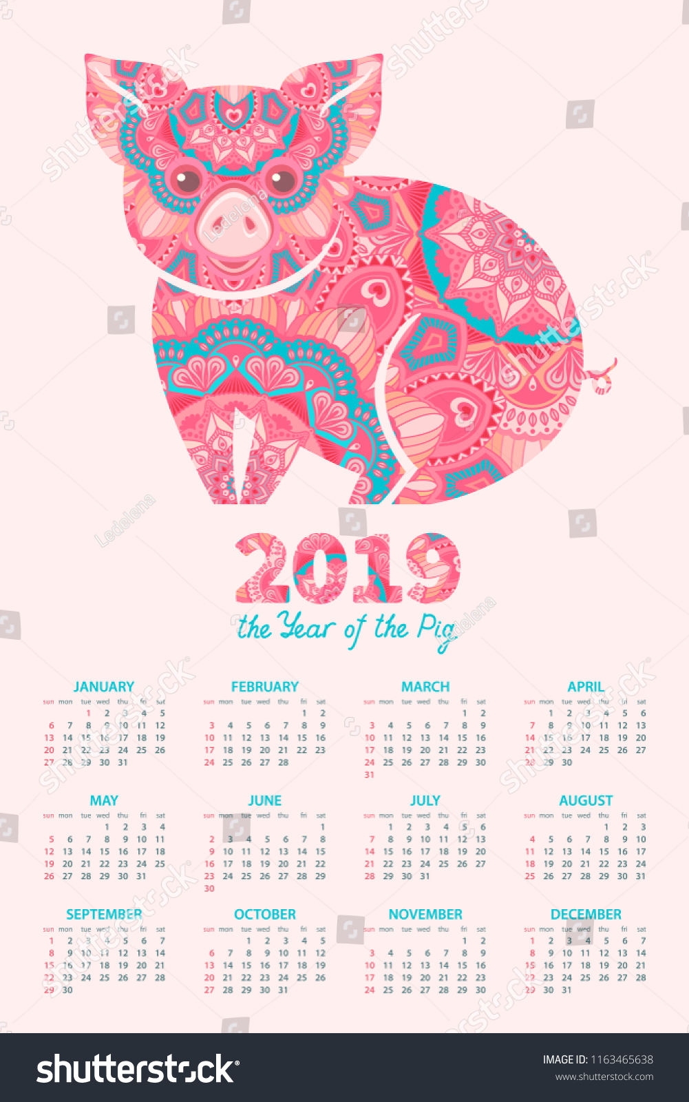 Calendar 2019 Pig Symbol 2019 Chinese Stock Vector (Royalty