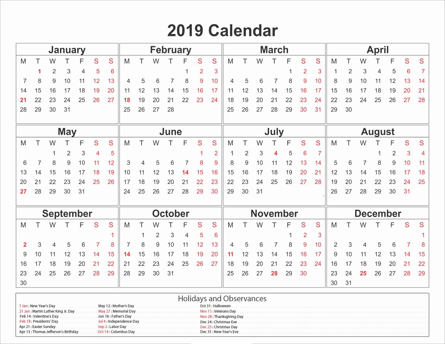 Calendar 2019 Printable With Holidays Free Printable