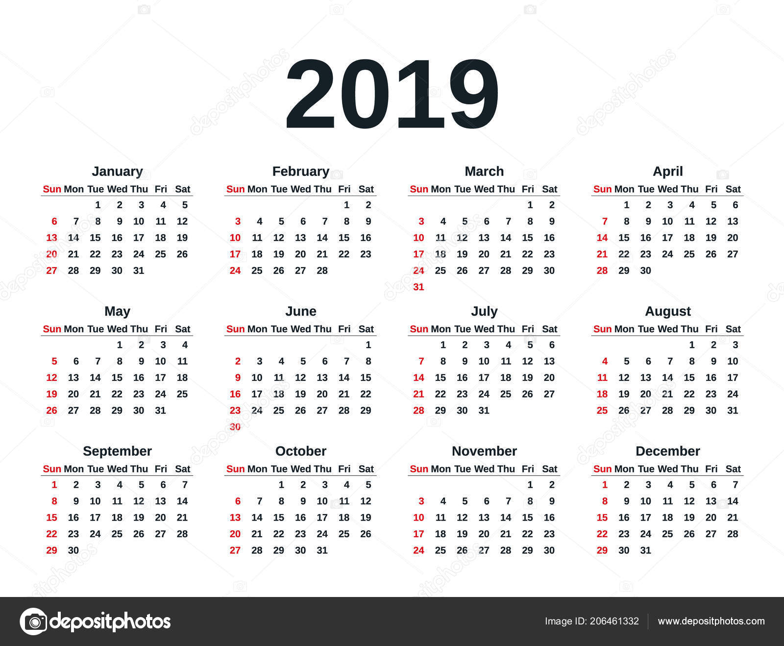 Calendar 2019 Simple Style Week Starts Sunday Vector