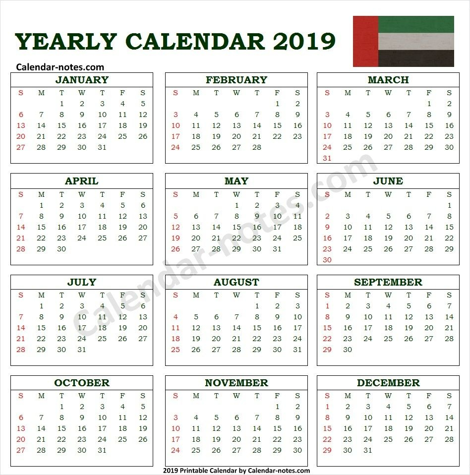 Calendar 2019 Uae With Holidays | Calendar 2019 With