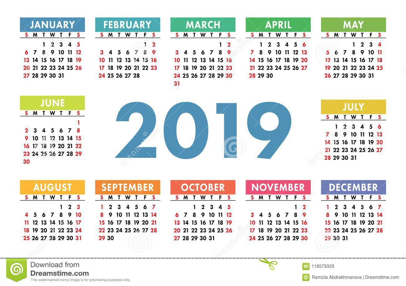 Calendar 2019. Vector Template. English Calender. Colorful