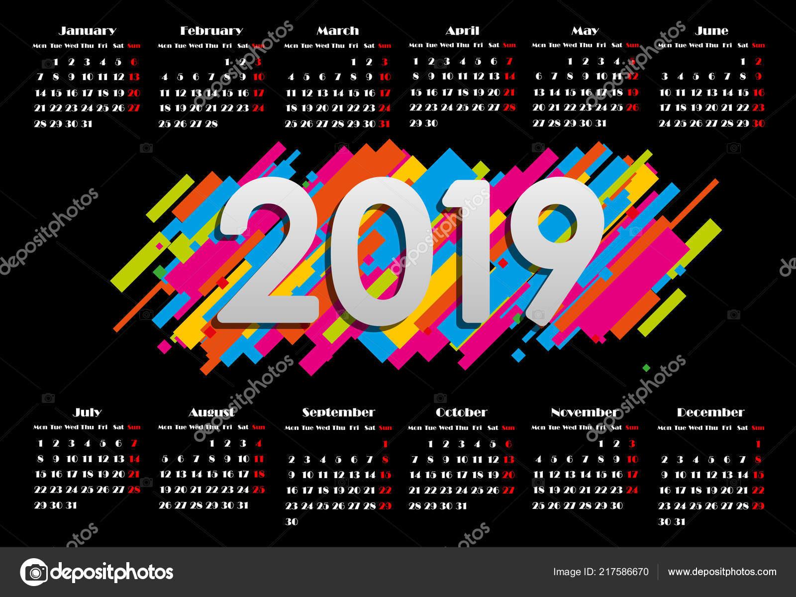 Calendar 2019, Week Starts From Sunday, Business Template