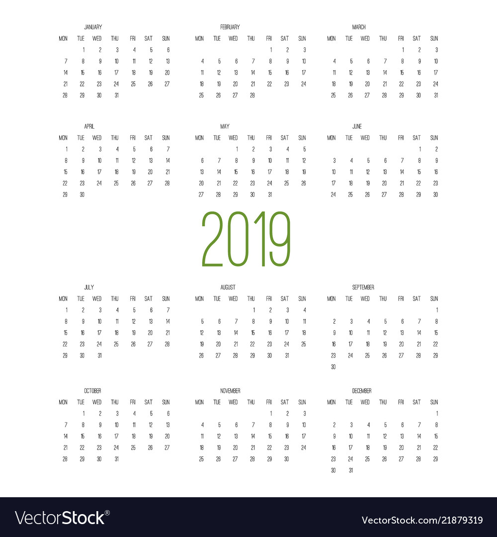 Calendar 2019 Week Starts From Sunday Business