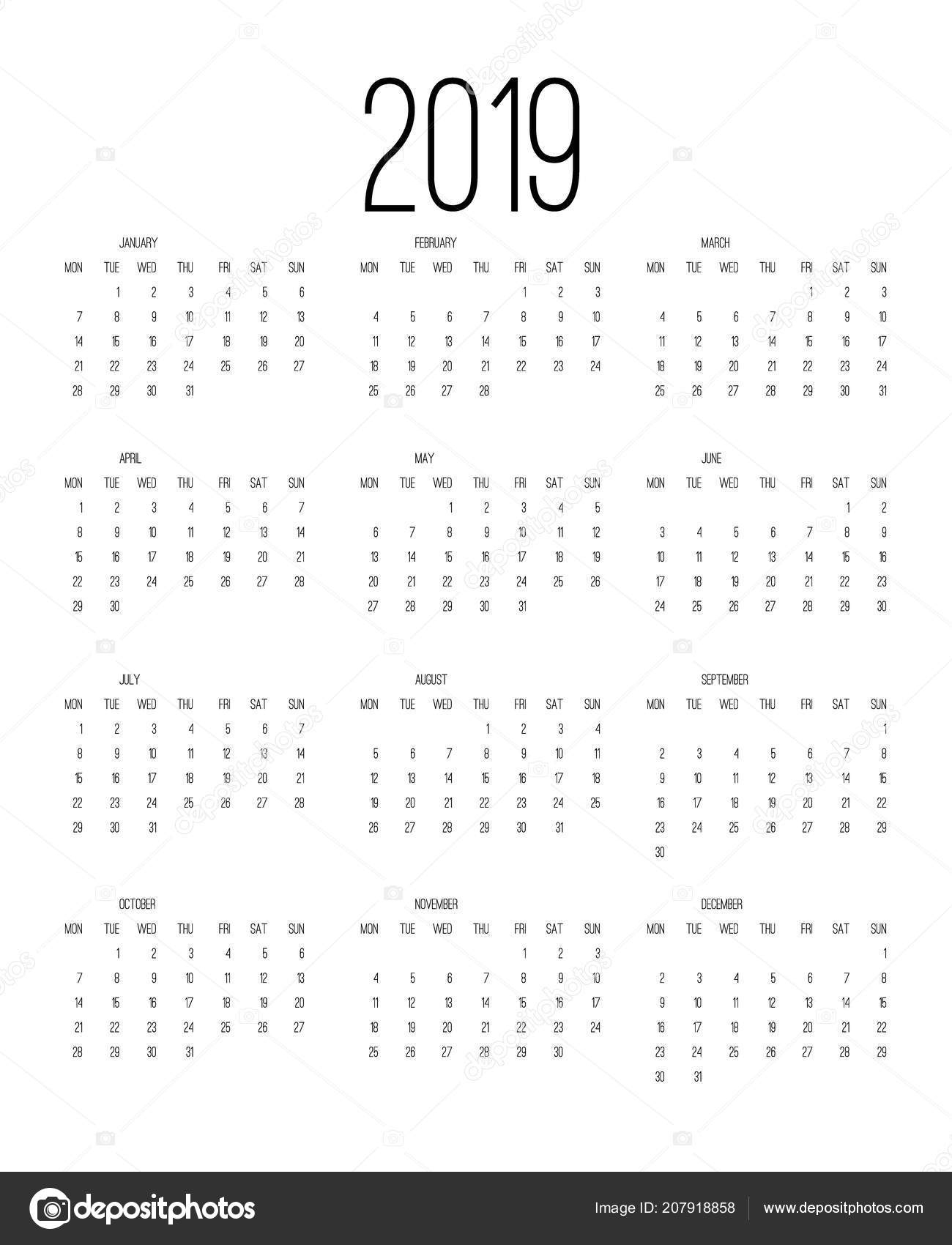 Calendar 2019 Week Starts Sunday Business Template Vector