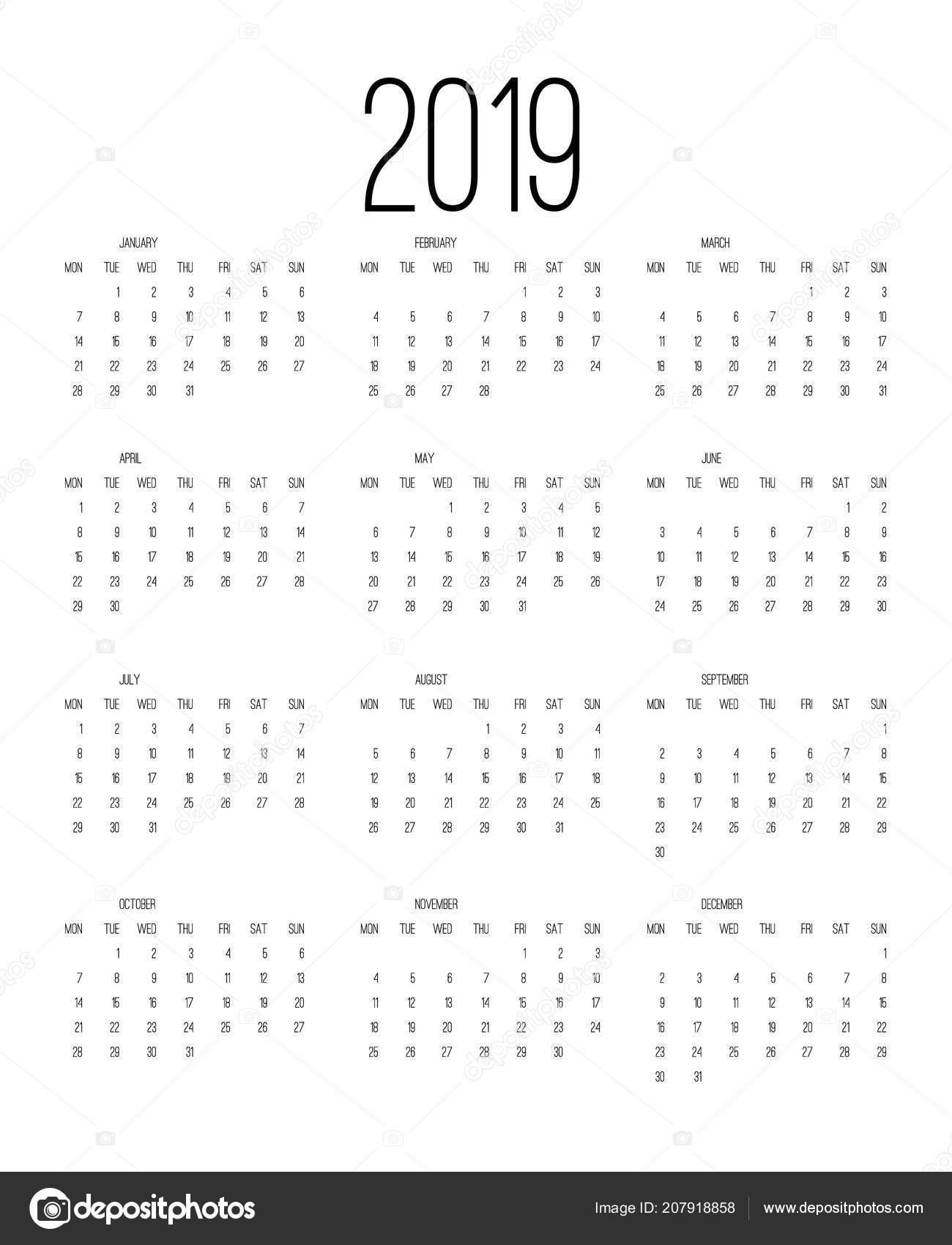 Calendar 2019 Week Starts Sunday Business Template Vector
