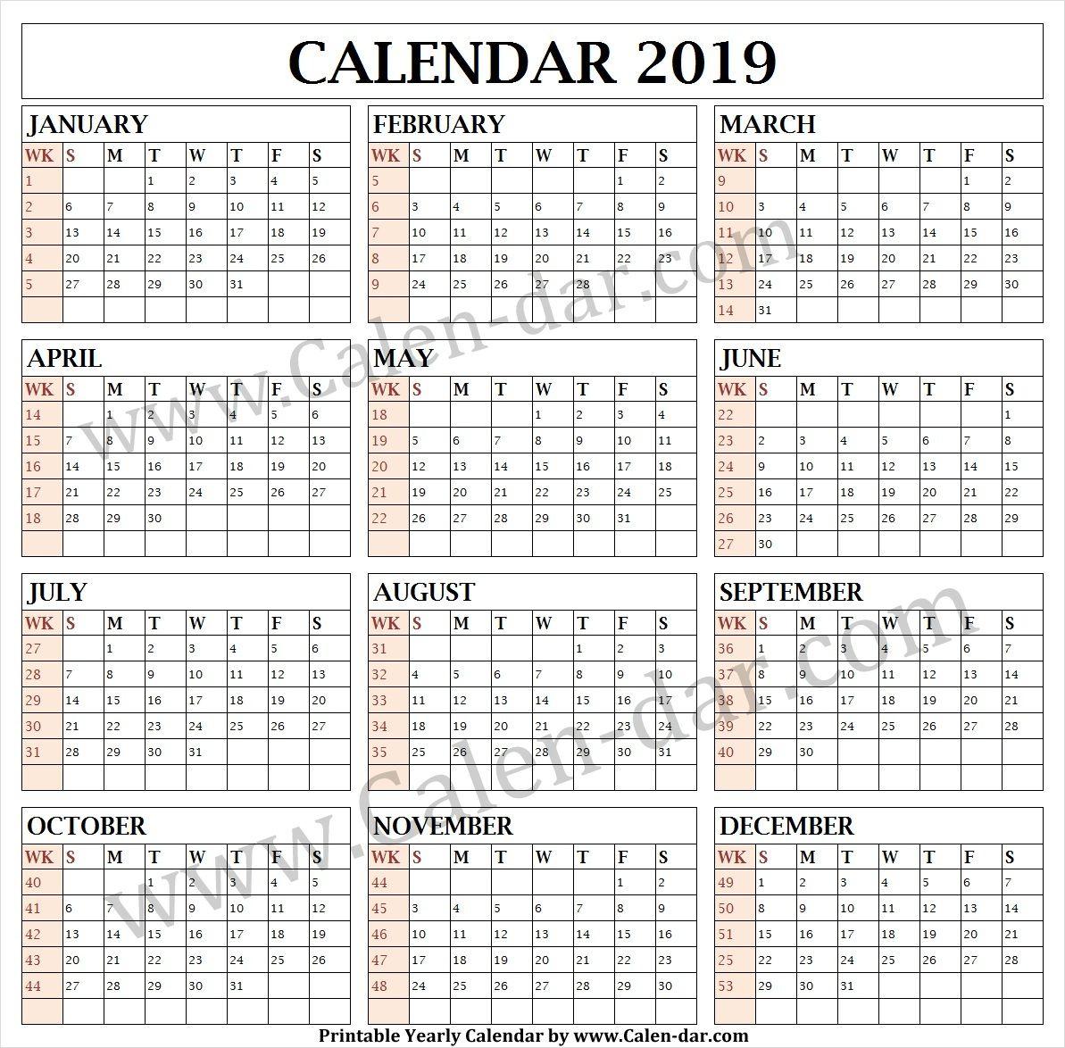 Calendar 2019 Week Wise | Calendar With Week Numbers, Print