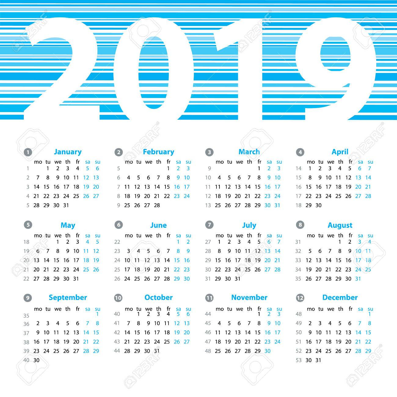 Calendar 2019 Year Vector Design Template With Week Numbers And..
