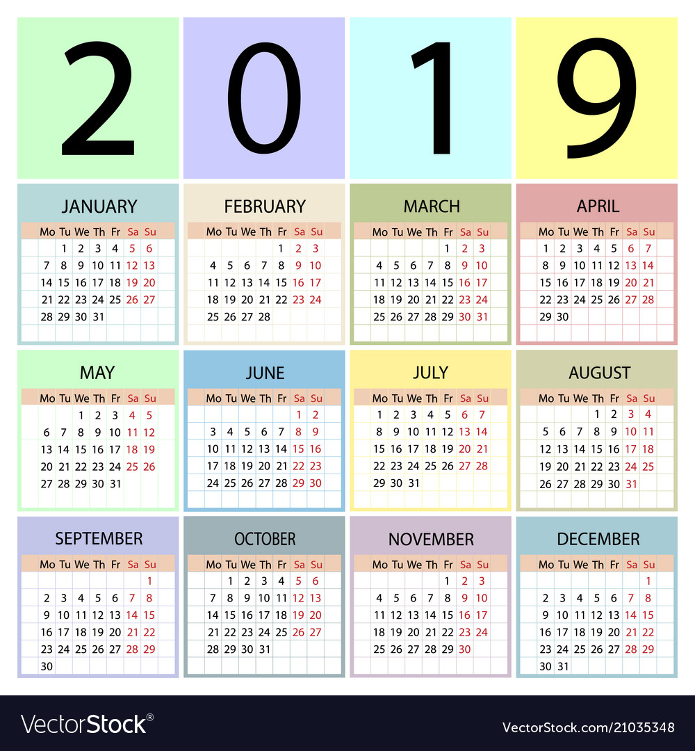Calendar 2019 Year Week Starts With Monday