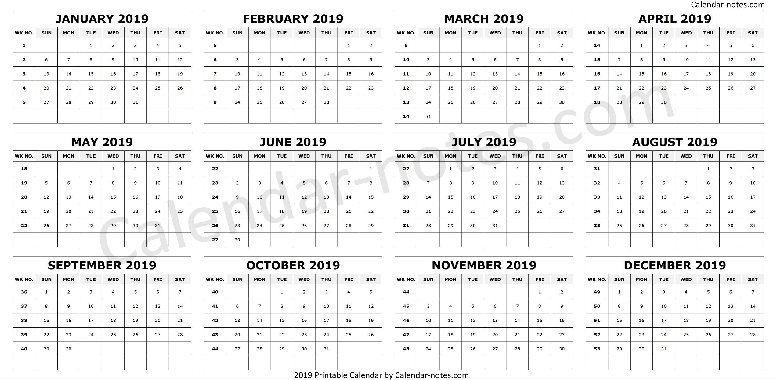 Calendar 2019Week Numbers | Week Number, Calendar 2019