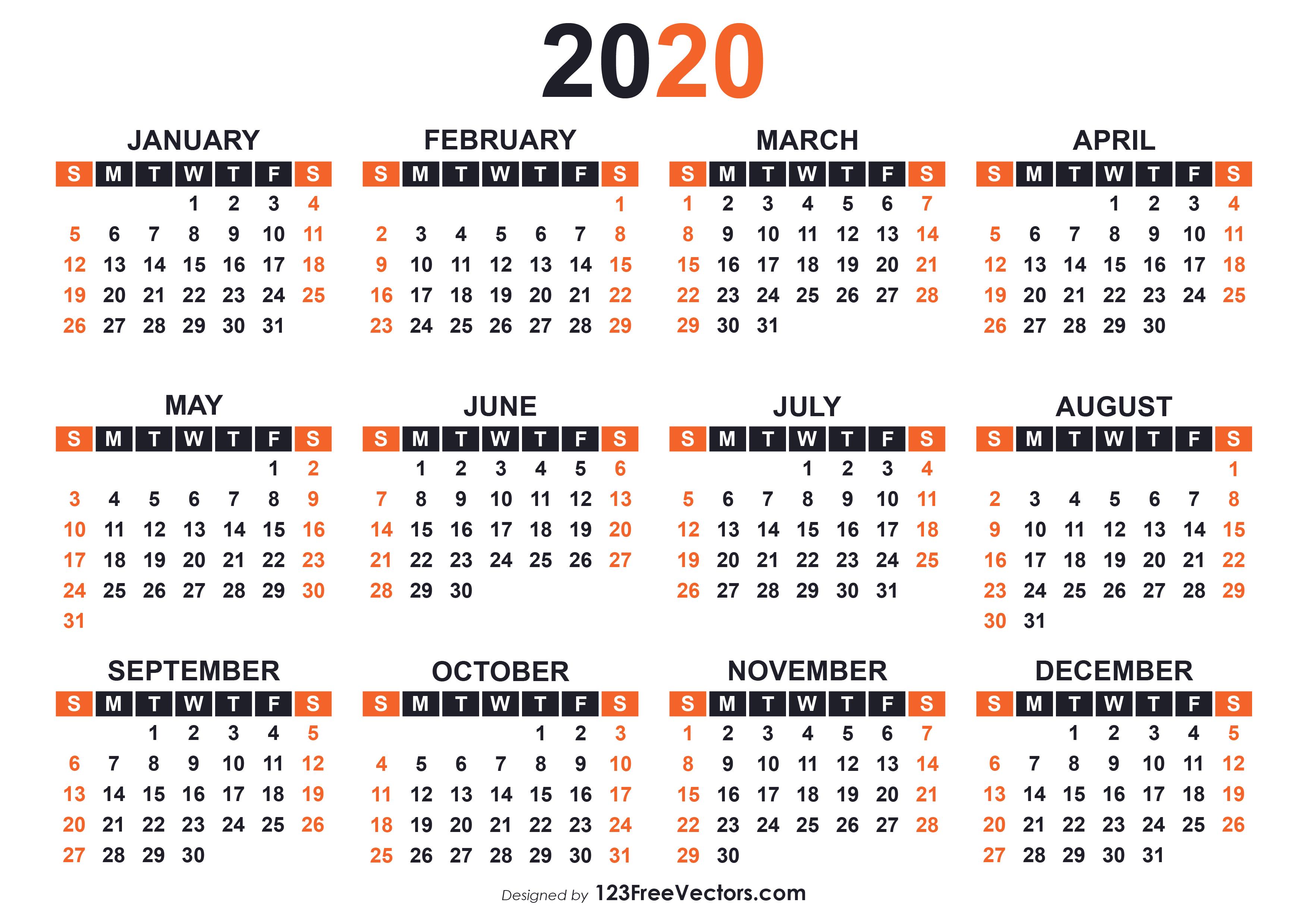 Calendar 2020 19 Template | Page Template