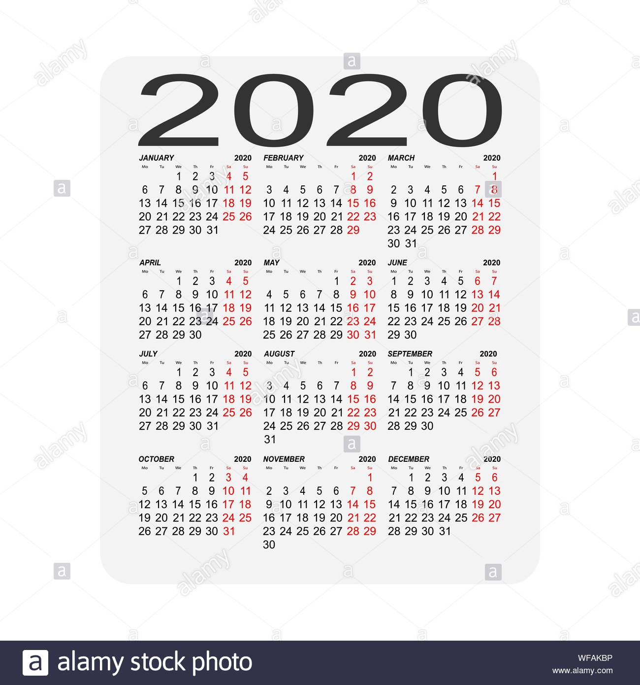 Calendar 2020. Calendar Sheet. Two Days Off A Week Stock