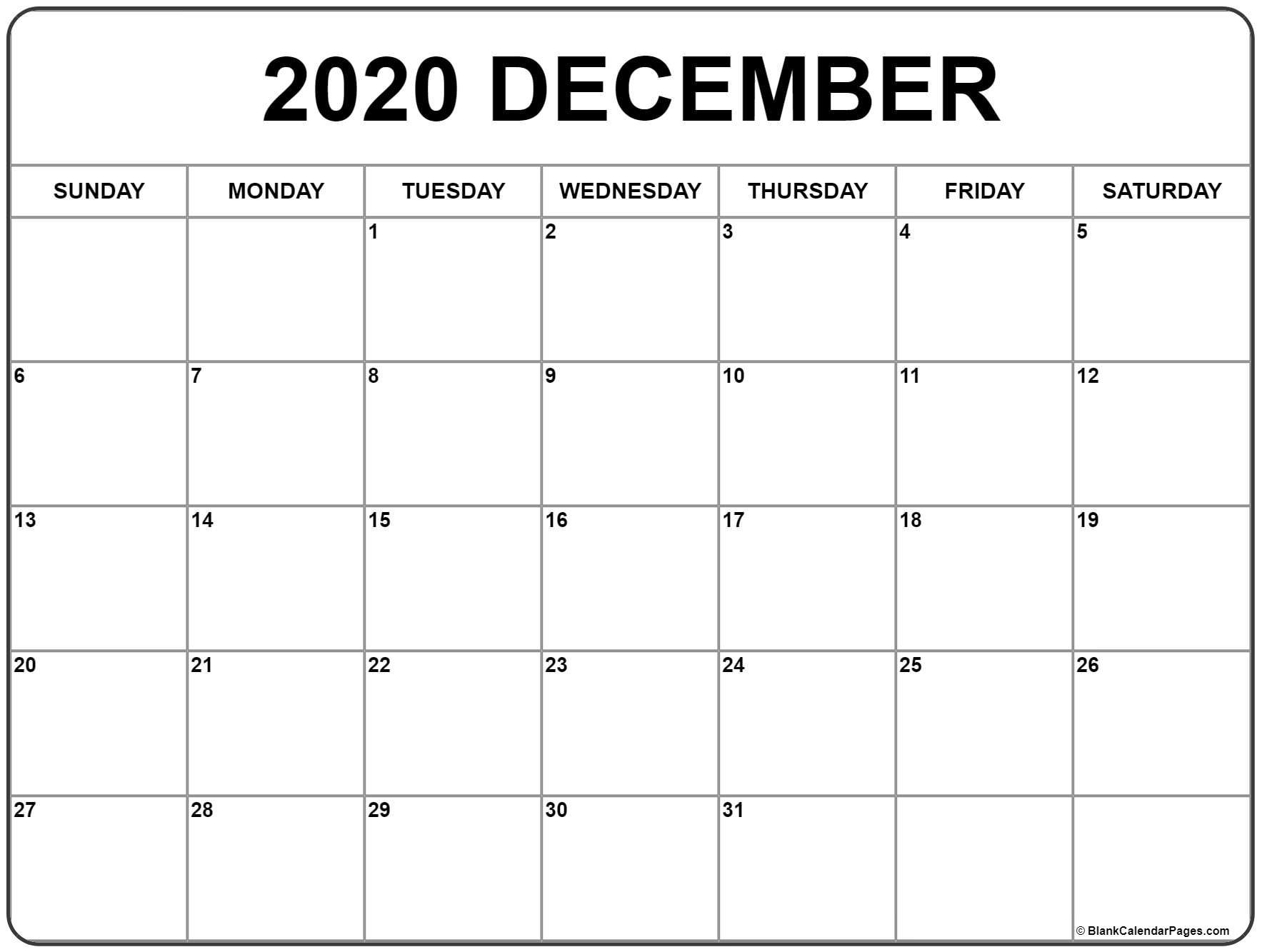 Calendar 2020 December Printable - Wpa.wpart.co