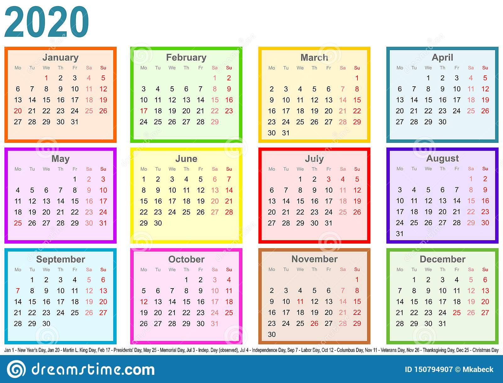 Calendar 2020 Each Month Different Colored Square Usa Stock