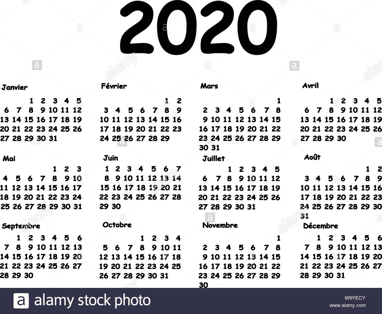 Calendar 2020 Grid French Language. Monthly Planning For