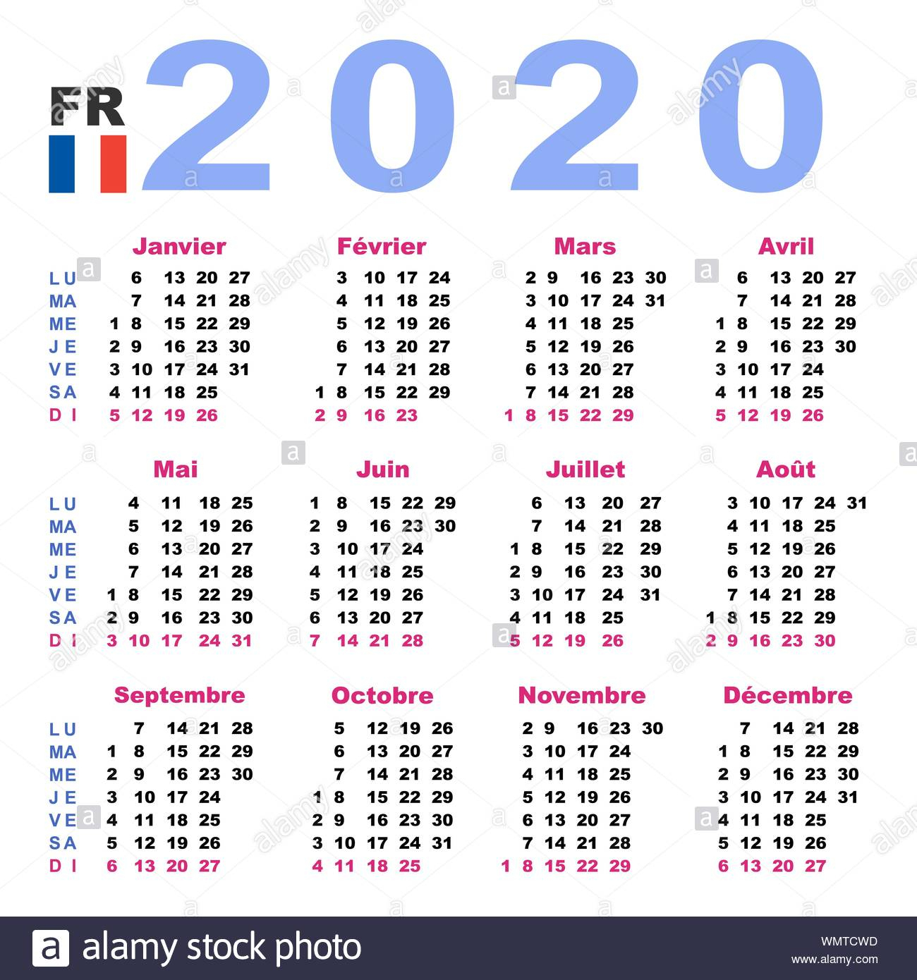 Calendar 2020 In French. Horizontal. Week Starts Monday
