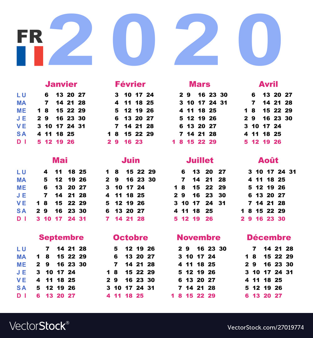 Calendar 2020 In French Horizontal Week Starts
