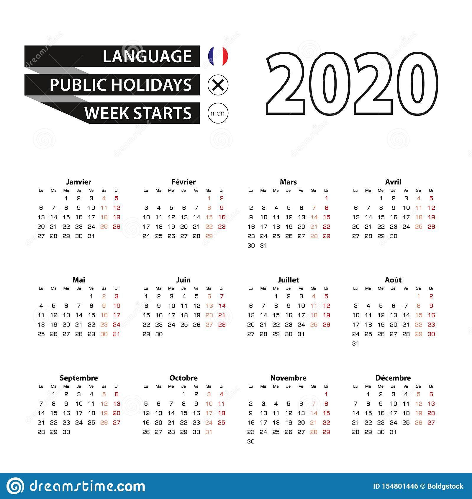 Calendar 2020 In French Language, Week Starts On Monday