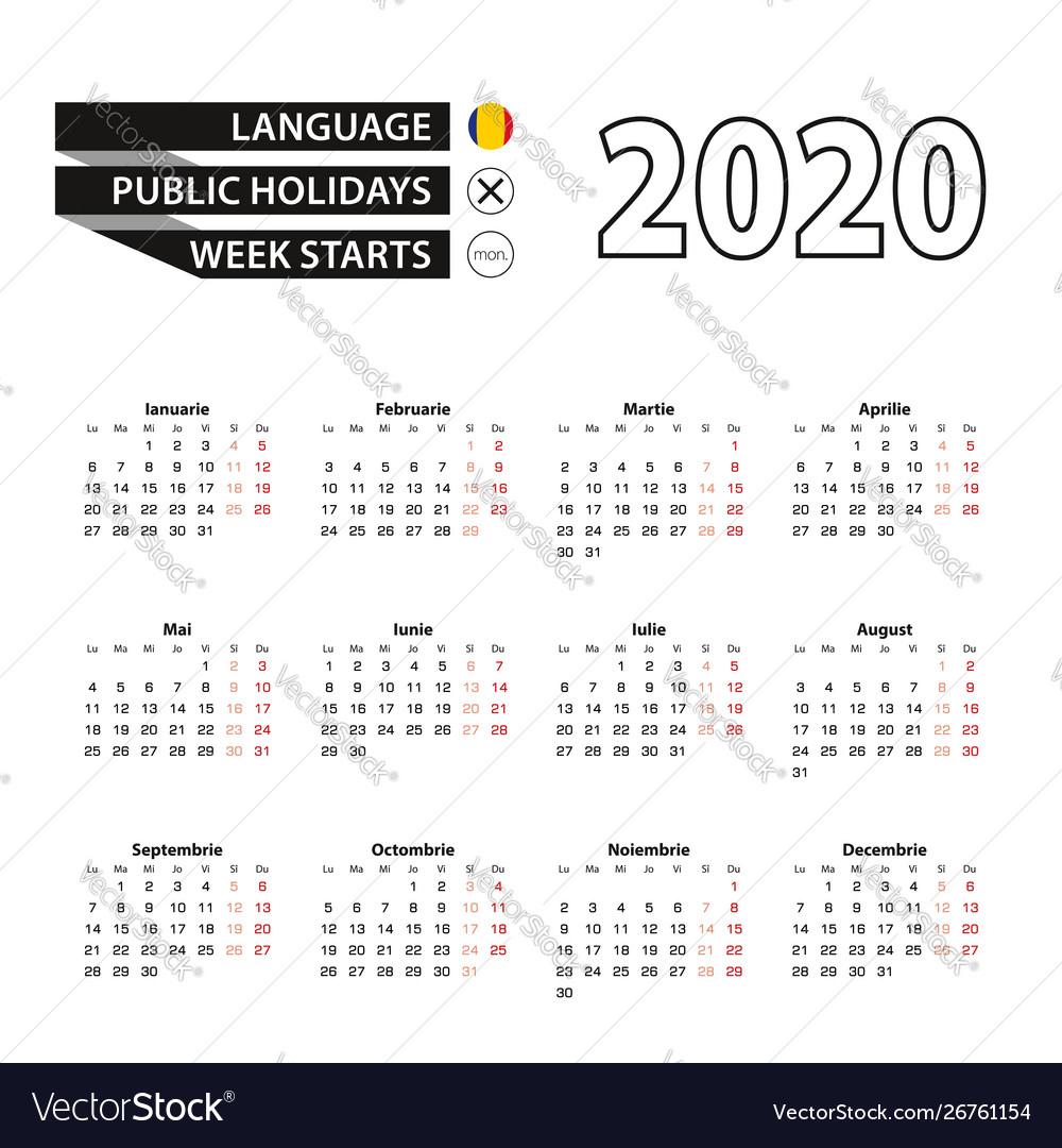 Calendar 2020 In Romanian Language Week Starts On