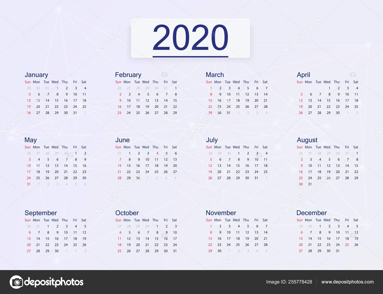 Calendar 2020 Isolated On Pink Background. — Векторное