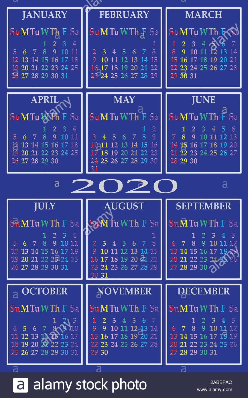 Calendar 2020 On Blue Background With Specific Color For