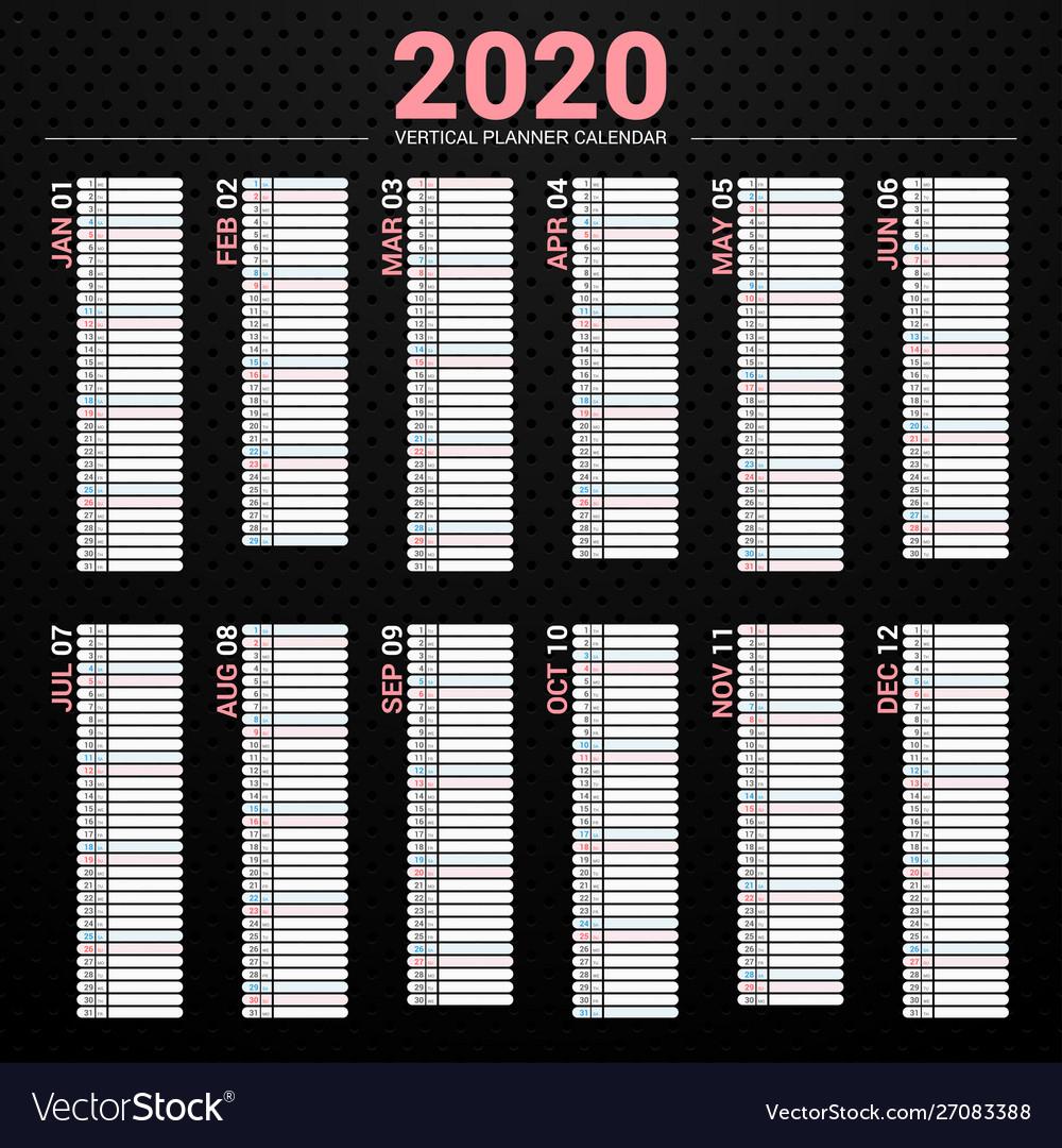 Calendar 2020 Planner Vertical Style