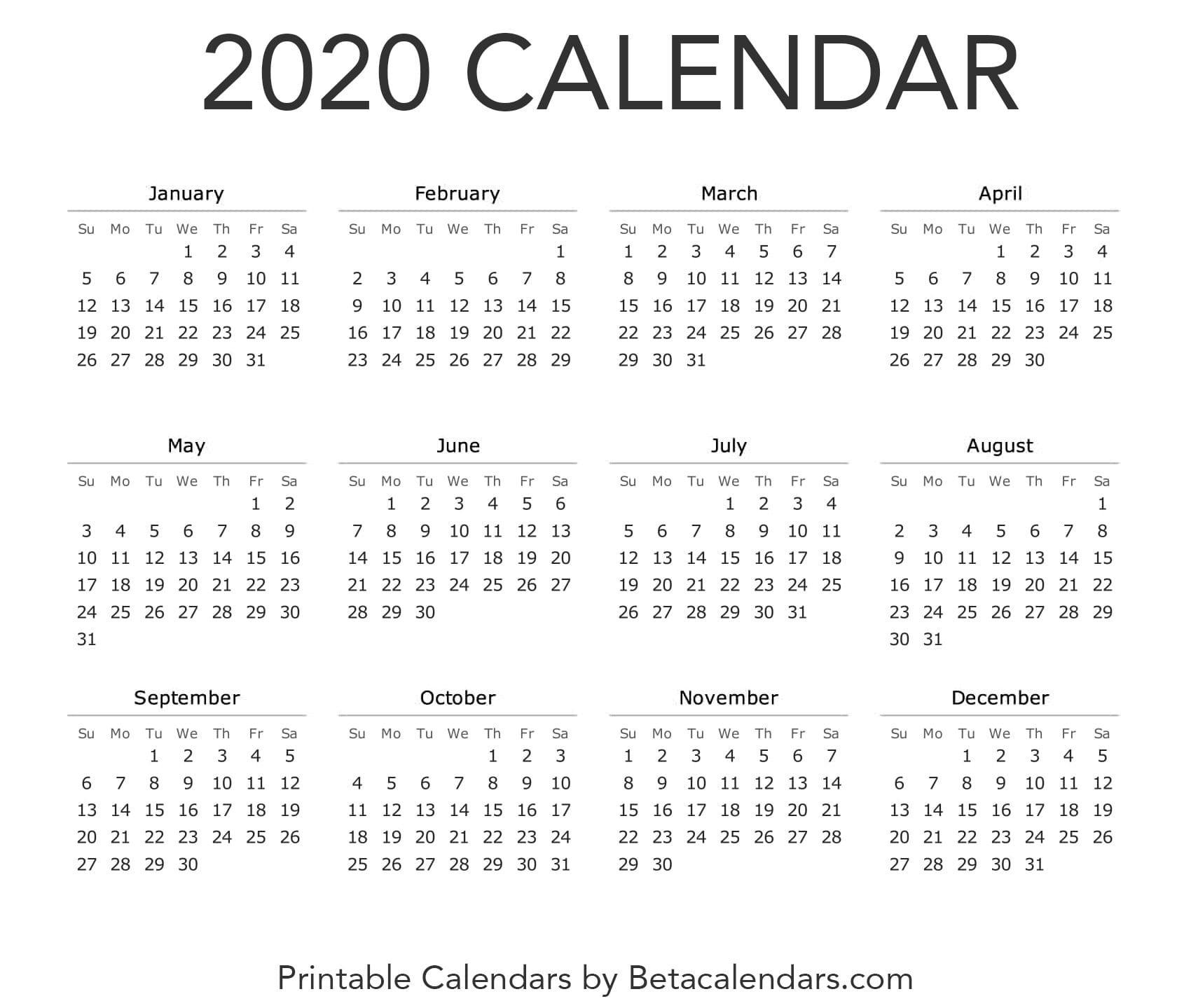 Calendar 2020 | Printable Yearly Calendar, Calendar 2020