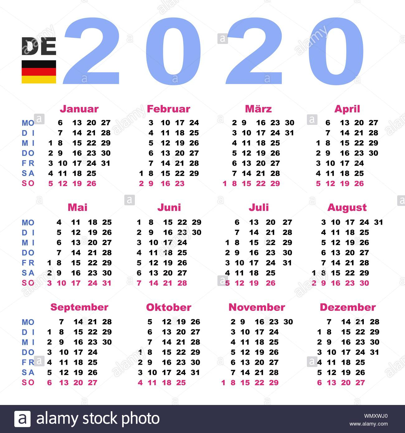 Calendar 2020 Stock Photos & Calendar 2020 Stock Images - Alamy