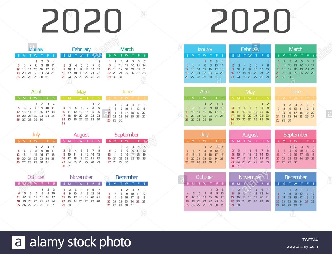 Calendar 2020 Template.12 Months Include Holiday Event Stock