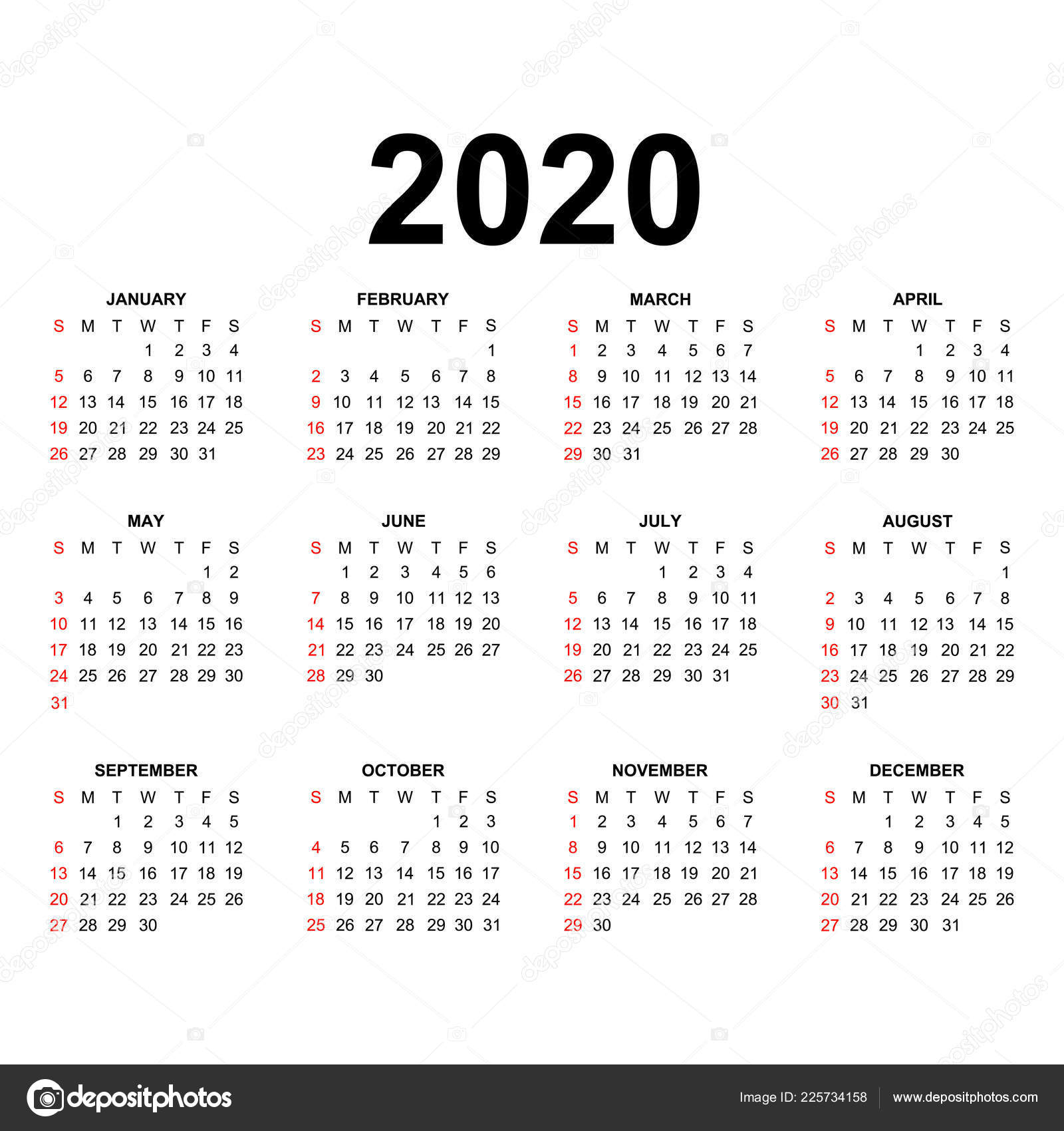 Calendar 2020 Template Calendar Design Black White Colors