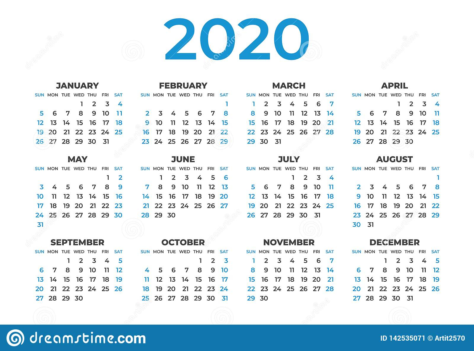 Calendar 2020 Template Layout, Blue Concept, Business
