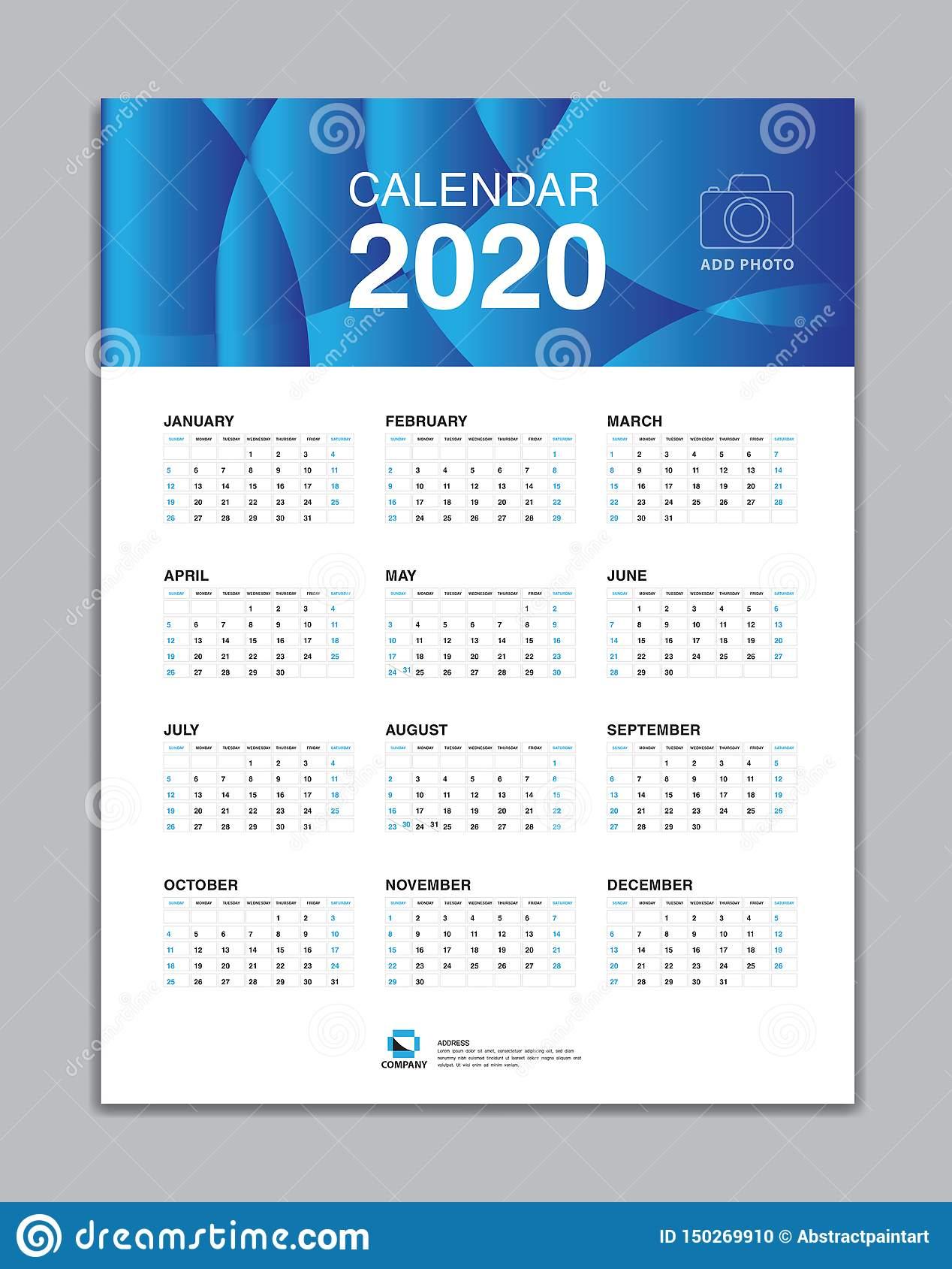 Calendar 2020 Template, Wall Calendar 2020 Vector, Desk