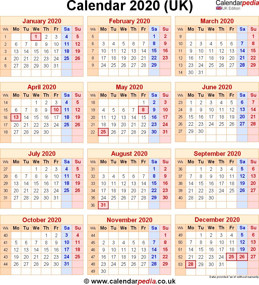 Calendar Week Numbers 2020 Uk | Calendar Printables Free ...