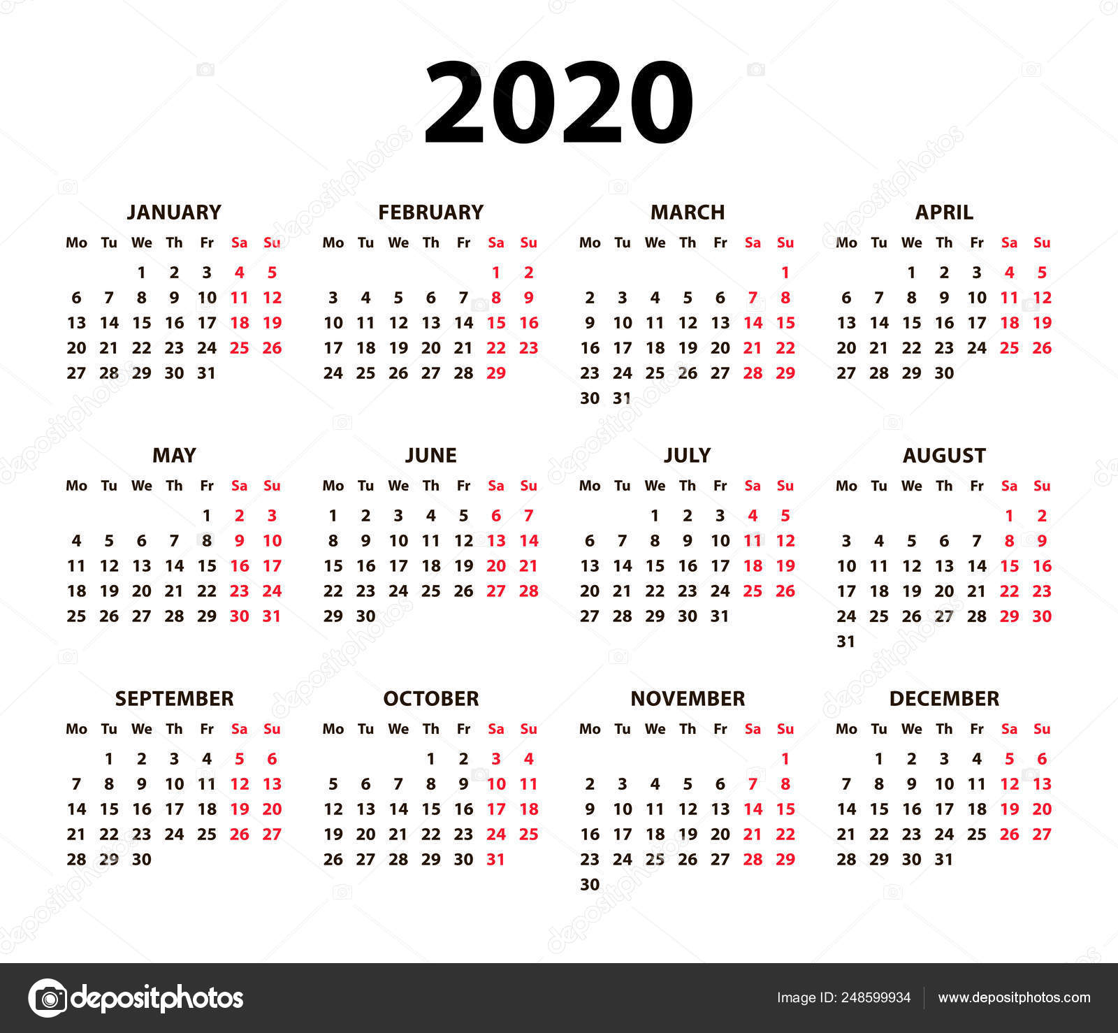 Calendar 2020 Vector Basic Grid. Simple Design Template