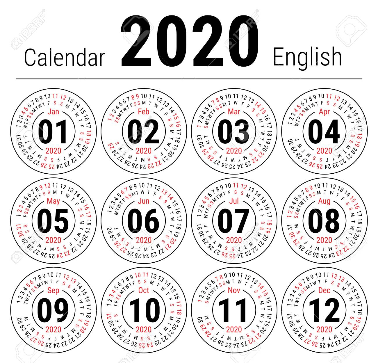 Calendar 2020. Vector English Round Calender. January, February,..
