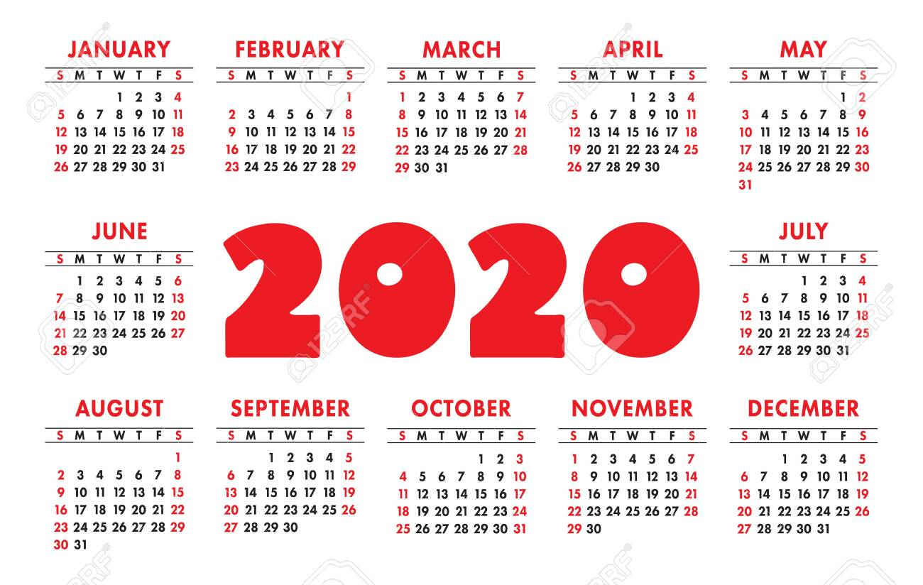 Calendar 2020 Vector Grid. English Template. Kids Design