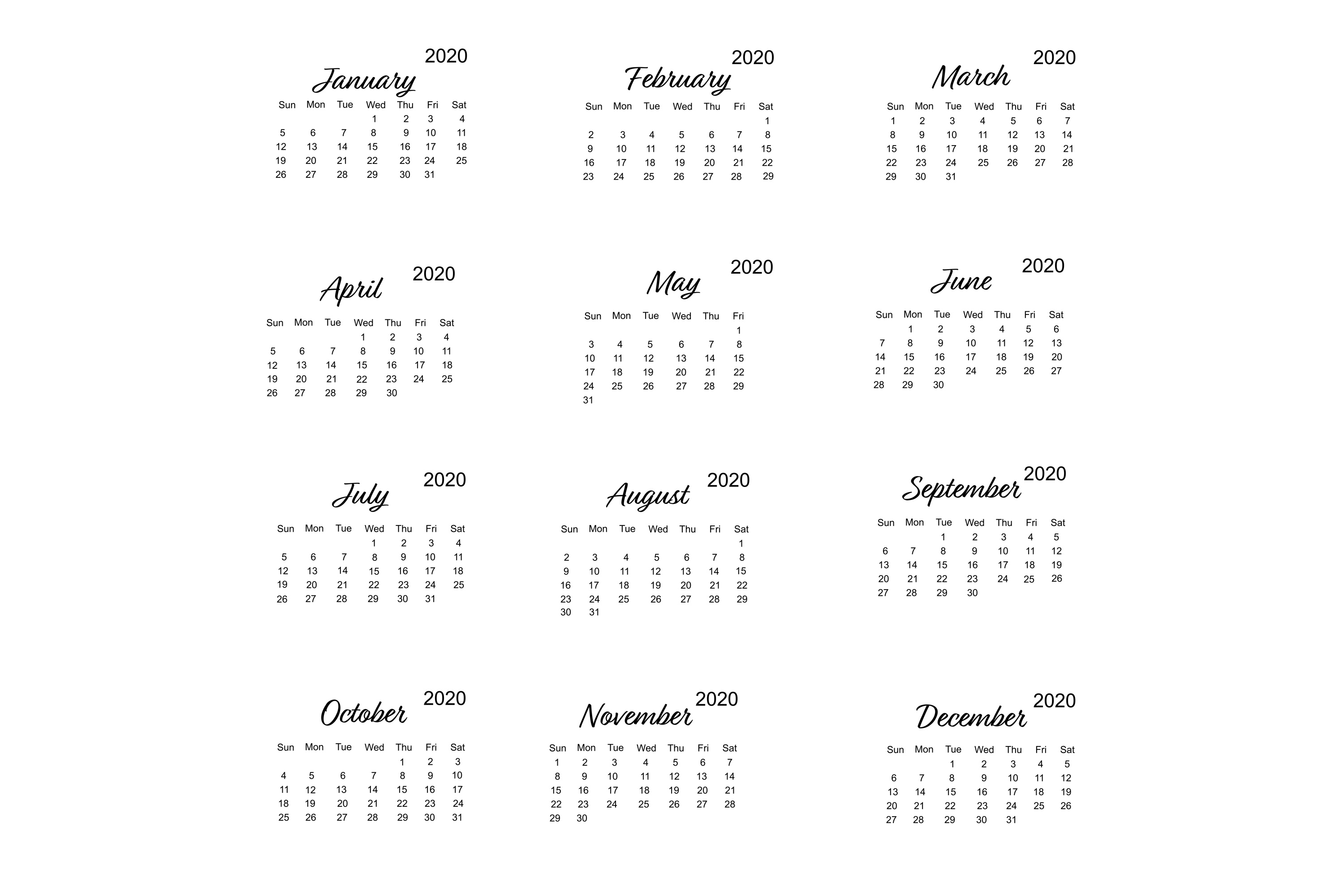 Calendar 2020 Vector With Minimalistic Design