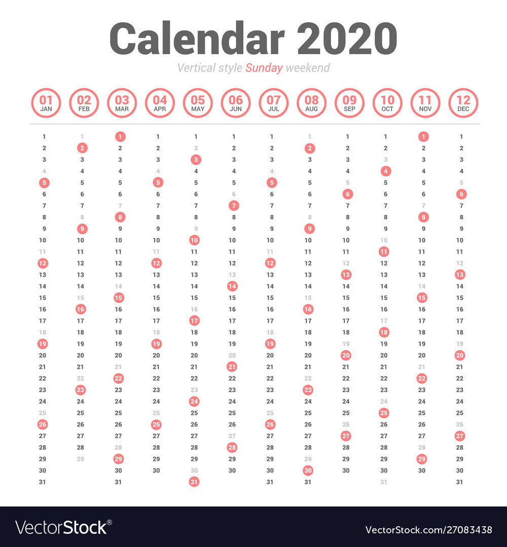 Calendar 2020 Vertical Style Sunday Weekend