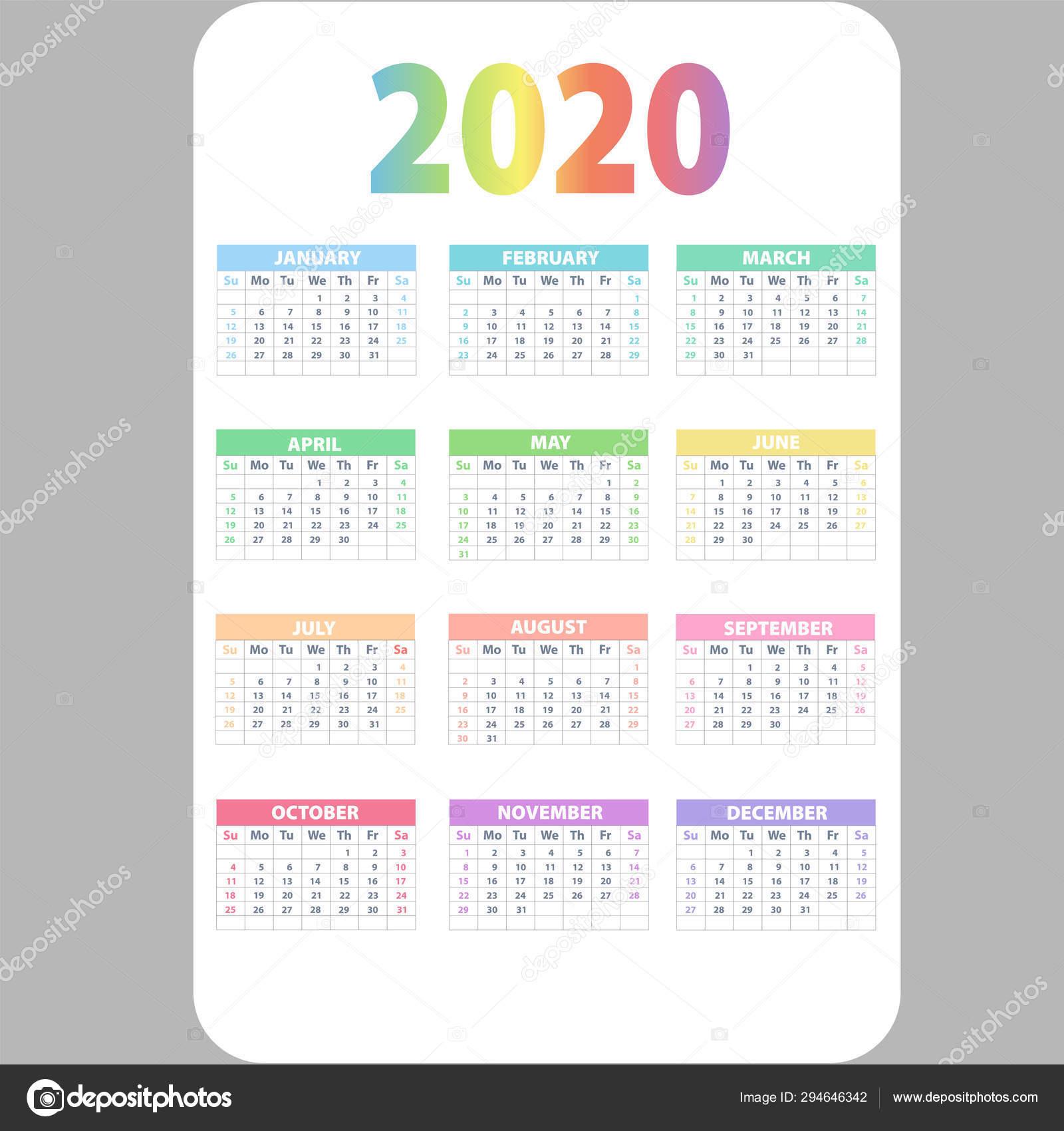 Calendar 2020. Wall Planner Calendars, Week Starts Grid And