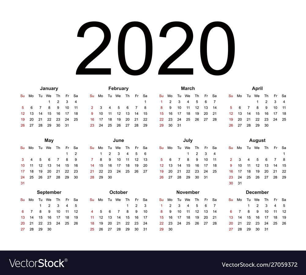 Calendar 2020 Week Starts From Sunday Business