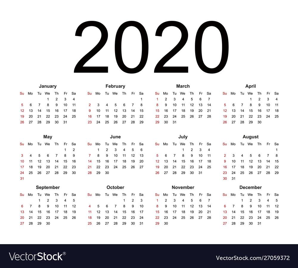 Calendar 2020 Week Starts From Sunday Business