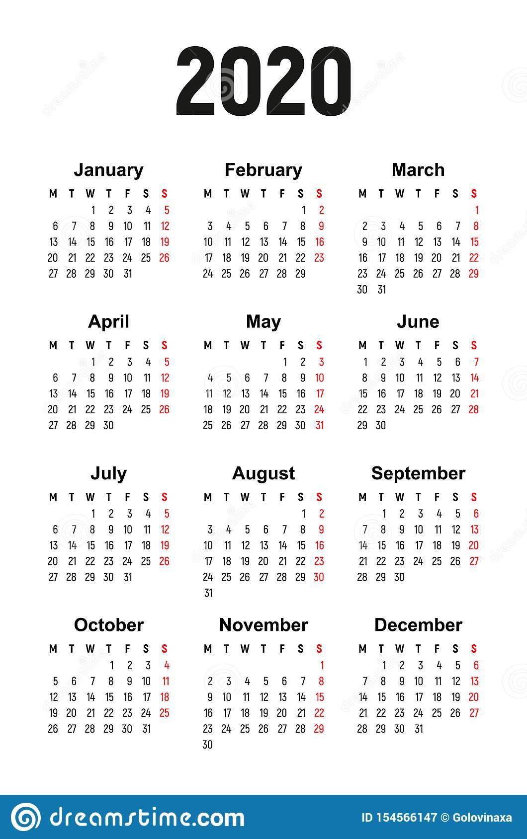 Calendar 2020, Week Starts On Monday Stock Vector